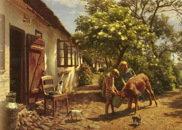 Danish 1859 to 1941 Feeding The Calf SnD THORUP 1931 O C 705 by 101cm